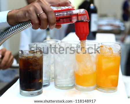 Soft-drink dispensers in party room - stock photo