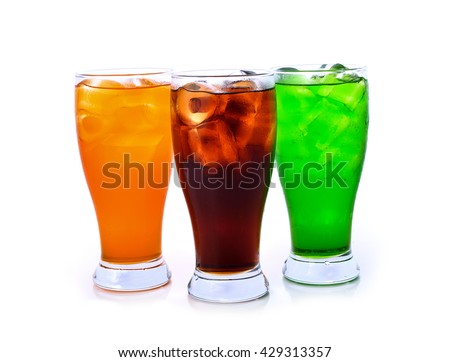 Soft drink in a glass with ice, isolated on white background . - stock photo