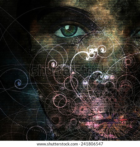 Soft emanations from womans mouth abstract - stock photo