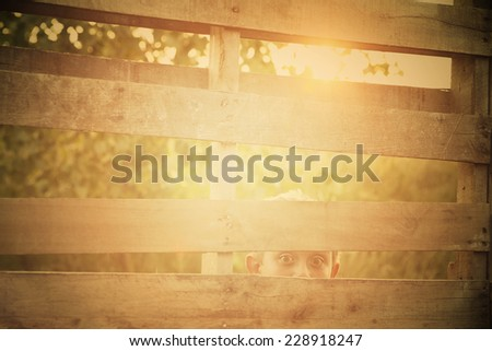 Soft filtered image of a boy peeking through an old wooden fence, Instagram effect - stock photo