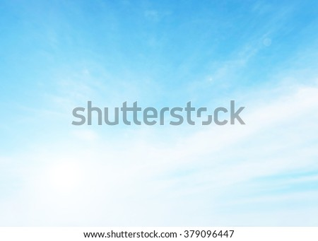 Soft focus blue sky clouds background. Heaven Nature Summer Blurry Blur Abstract Backdrop Web White Light Open View Rays Sunlight Bokeh Gradient Glowing Pastel Wallpaper Peaceful Beauty Outdoors Scene - stock photo