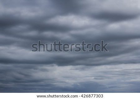 Soft focus of strong storm blue cloud on rainy season, texture background  - stock photo
