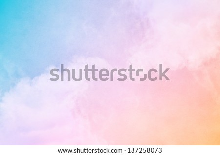 Soft fog and clouds with a pastel colored orange to blue gradient.   - stock photo