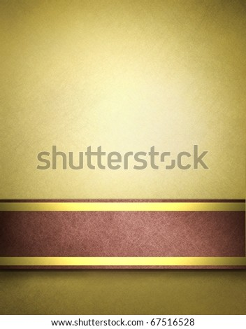 soft golden brown parchment background with slight grunge texture, red and gold ribbon stripes and copy space design layout to add your own text, image, title, or picture - stock photo