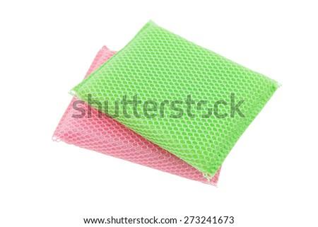 Soft kitchen sponge for washing dishes isolated on white background - stock photo