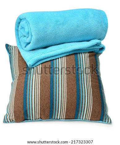 Soft pillow and blanket against white background. - stock photo
