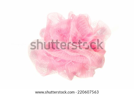 Soft pink bath puff or sponge  isolated on white background - stock photo