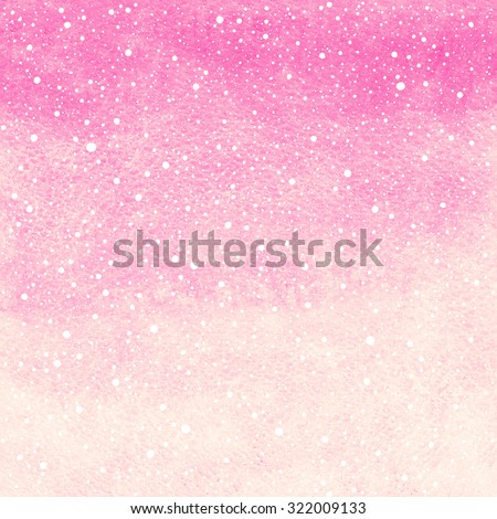 Soft pink winter watercolor abstract background with falling snow splash texture. Christmas, New Year painted template. Gradient fill. Hand drawn snowfall texture. - stock photo