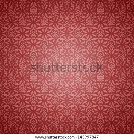 Soft Red Shaded Damask Pattern - stock photo