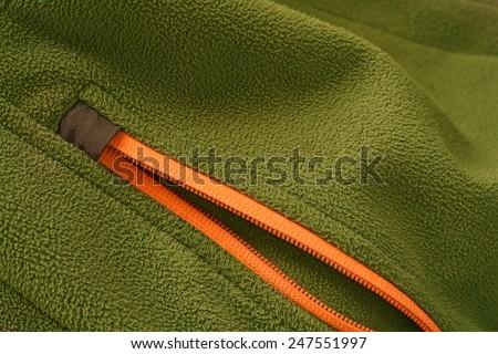 soft-shell fleece jacket zipper detail - stock photo