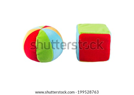 soft toy for kids ball and cube - stock photo