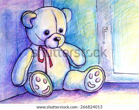 soft toy teddy bear with a red bow sitting on a window at night. Illustration hand work. Watercolor and ink - stock photo