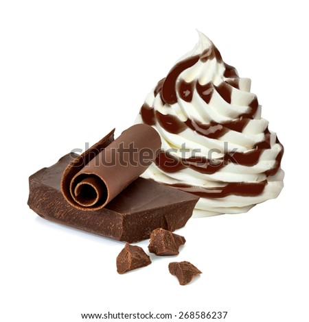 Soft vanilla ice cream with chocolate sauce on white background  - stock photo