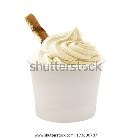 Soft vanilla ice cream with wafer in blank paper cup on white background - stock photo