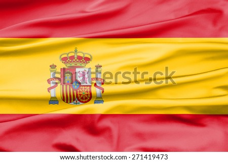 Soft velvet looking flag of Spain with folds - stock photo