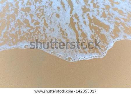 Soft wave of the sea on sandy beach, hua hin, thailand - stock photo