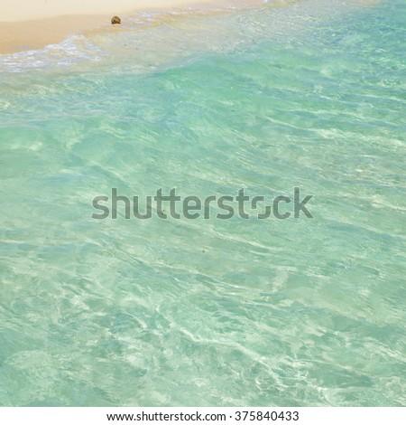 Soft wave of the tropical sea on the sandy beach. Caribbean Sea scenery in Playa del Carmen, Yucatan, Mexico  - stock photo