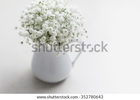 Soft white baby's breath flowers (Gypsophila) in white vase - stock photo