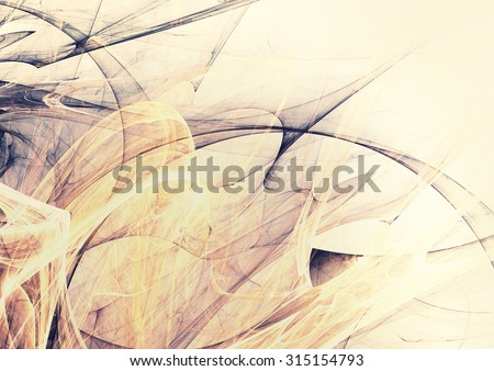 Soft yellow and grey color pattern. Abstract vintage background with light smoke. Modern futuristic template for wallpaper, flyer cover, poster, booklet. Fractal art for creative graphic design. - stock photo