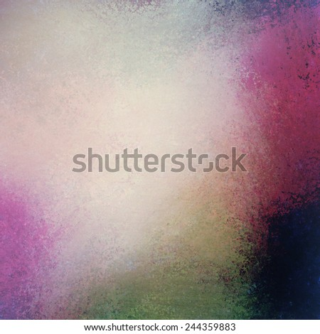soft yellowed pink and green background with faded white center and pastel color border, vintage background grunge texture design - stock photo