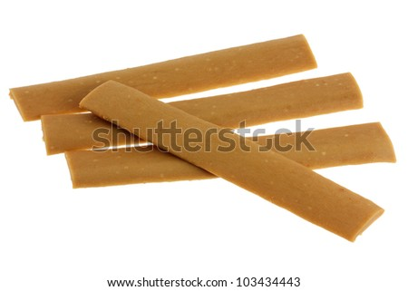 Soft Yummy Dog Treats (Dog Food, Dog Chews, Snack) strip, Liver flavor,  isolated on white - stock photo