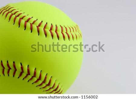Softball on white - stock photo