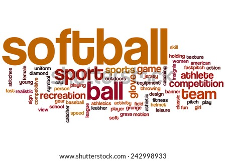 Softball word cloud concept with sport competition related tags - stock photo