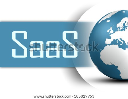 Software as a Service concept with globe on white background - stock photo