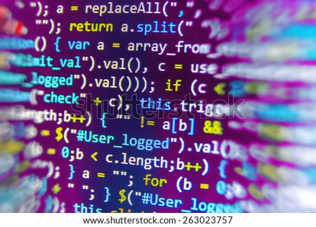 Software background coding screen of source code of developer programming language data. Script function on monitor display. Cyber abstract of web application. Stream of bits. Blue purple pink color. - stock photo