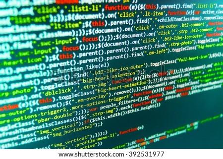 Software background. Software source code. Computer program. Programming code abstract screen of software developer. Developer working on websites codes in office. Writing programming code on laptop  - stock photo