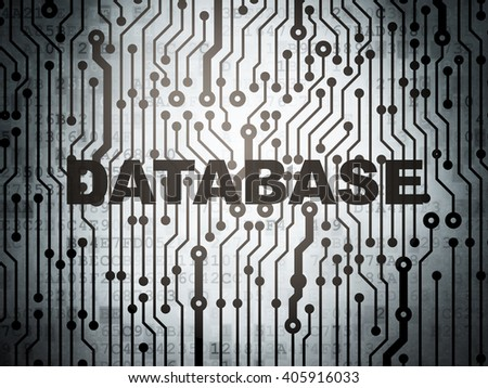 Software concept: circuit board with  word Database, 3D rendering - stock photo