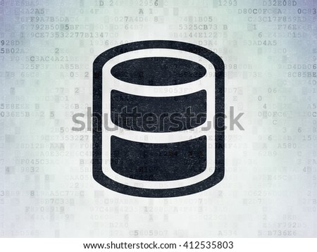 Software concept: Painted black Database icon on Digital Data Paper background - stock photo