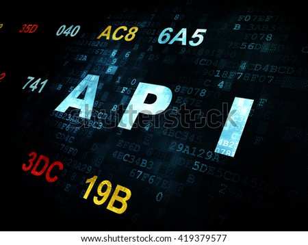Software concept: Pixelated blue text Api on Digital wall background with Hexadecimal Code - stock photo