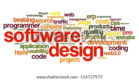 Software design concept in tag cloud on white background - stock photo