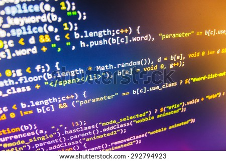 Software developer programming code on computer. Abstract computer script source code. Shallow depth of field, selective focus effect. (MORE SIMILAR IN MY GALLERY) - stock photo