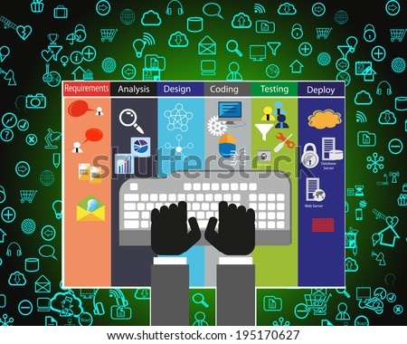 Software Development Life Cycle process and flat icon collection  - stock photo