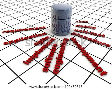Software Development, symbolized over grid floor - stock photo