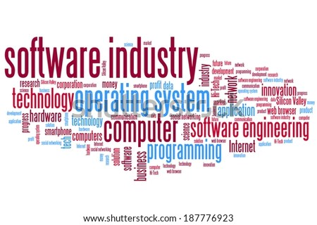 Software industry issues and concepts word cloud illustration. Word collage concept. - stock photo