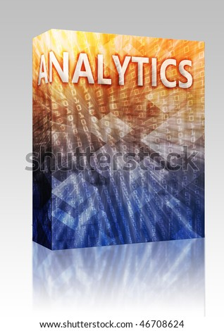 Software package box Analytics Business intellegence abstract, computer technology concept illustration - stock photo