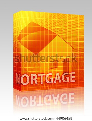 Software package box House financing digital collage illustration, subprime loan - stock photo