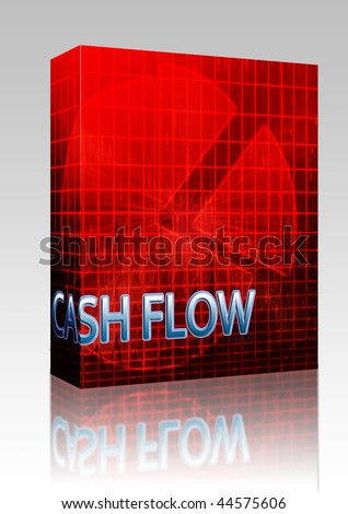 Software package box Illustration of cash flow budgeting finance and business pie chart - stock photo