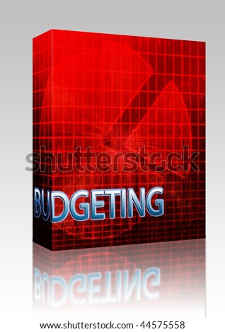 Software package box Illustration of financial budgeting finance and business pie chart - stock photo