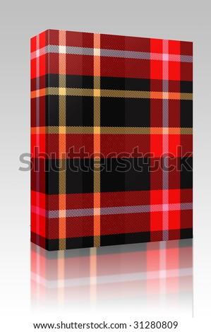 Software package box Tartan Scottish plaid material pattern texture design - stock photo