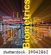 Software package box Word cloud concept illustration of biometrics recognition - stock photo