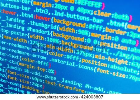 Software source code. Programmer developer screen. Website programming code. Technology background. Computer script.  Abstract screen of software. Programmer workplace.   - stock photo