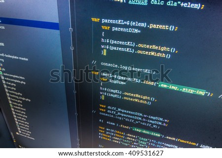 Software source code. Programmer occupation. Developer working on software codes in office. Developer working on websites codes in office. Website programming code.   - stock photo