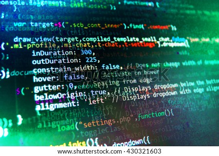 Software source code. Programming code abstract screen of software developer. Developer working on program codes in office. Computer program. Programming code. Technology background.   - stock photo