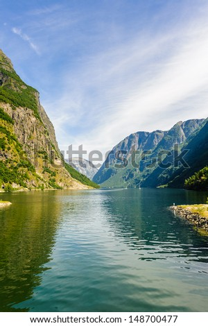 Sognefjord, the largest fjord in Norway - stock photo
