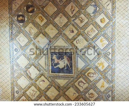 soil background of ancient Rome, forming drawings - stock photo
