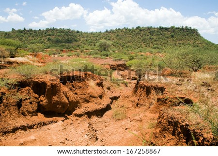 Soil erosion caused by heavy rainfalls in central Kenya - stock photo